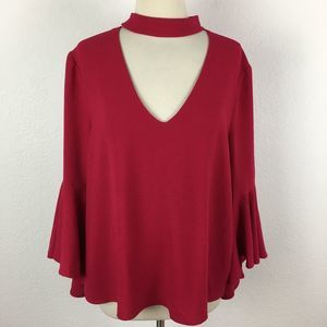 WAYF NWT Red Fluted Sleeve Blouse XL